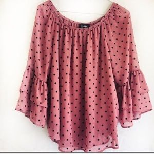 By & By Polka Dot Ruffle Top Med.